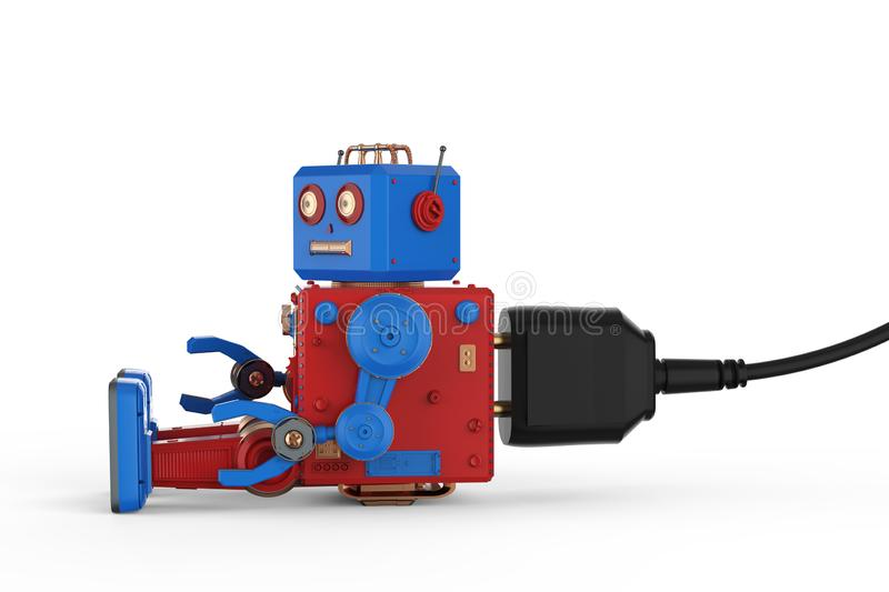 Robot tin toy with plug royalty free illustration