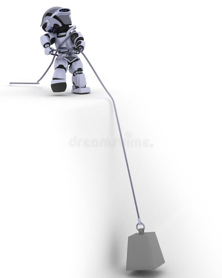 Robot tirant un poids sur un câble en acier illustration de vecteur