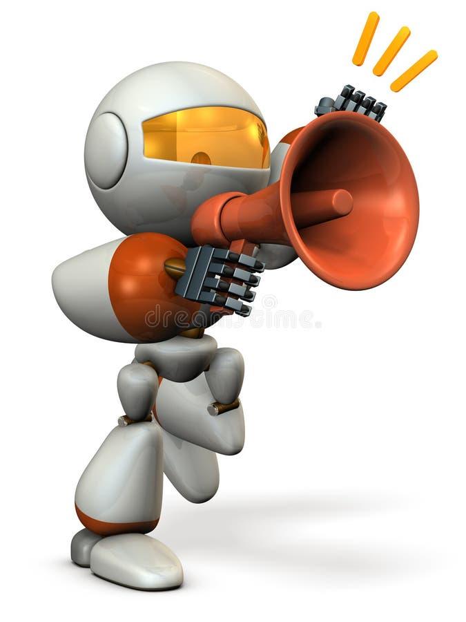 Le robot proteste avec le haut-parleur.  illustration libre de droits