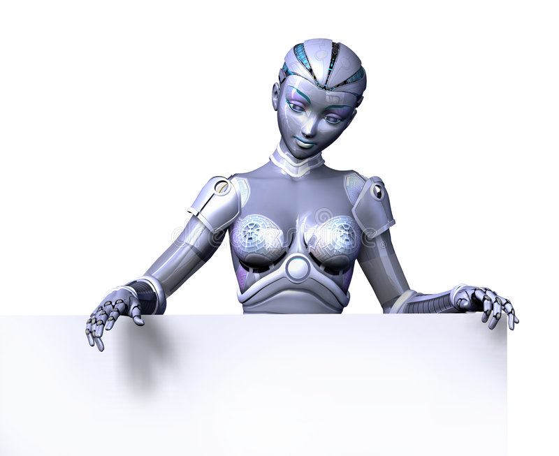 Robot on Top Edge of Blank Sign - with clipping path. 3D render of a female robot looking over the top edge of a blank sign, with clipping path
