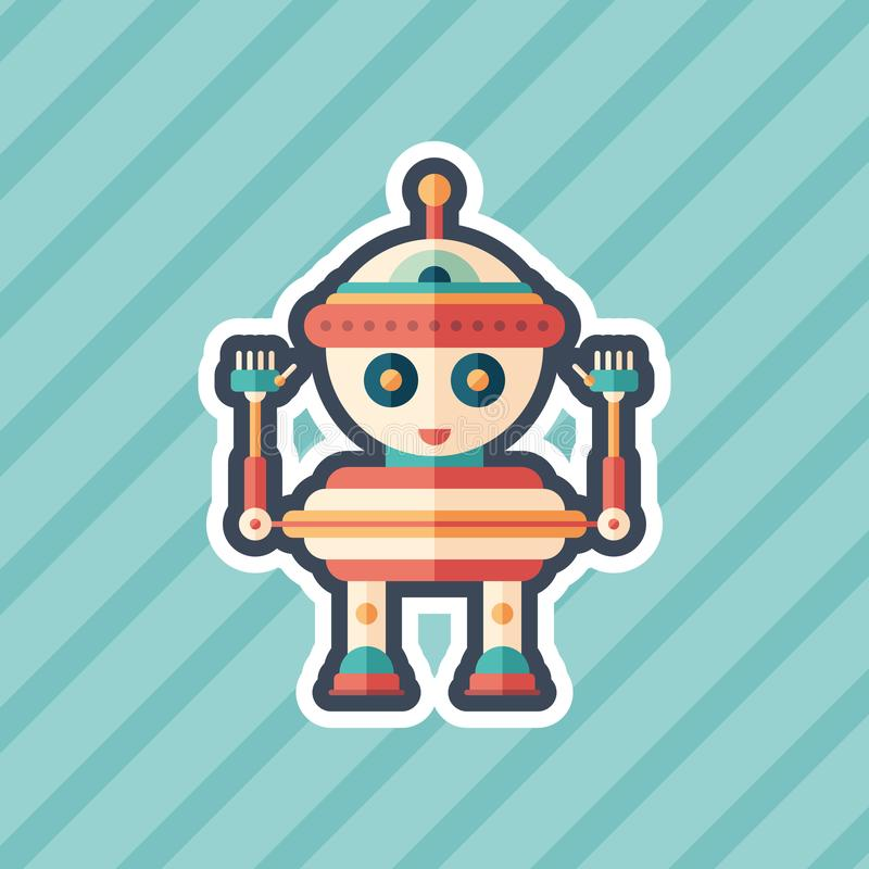 Robot top toy sticker flat icon with color background. vector illustration