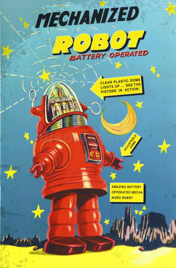 Robot Toy Box Robbie Japanese Toys. Vintage art poster card battery operated kids classic lost in space royalty free stock photo
