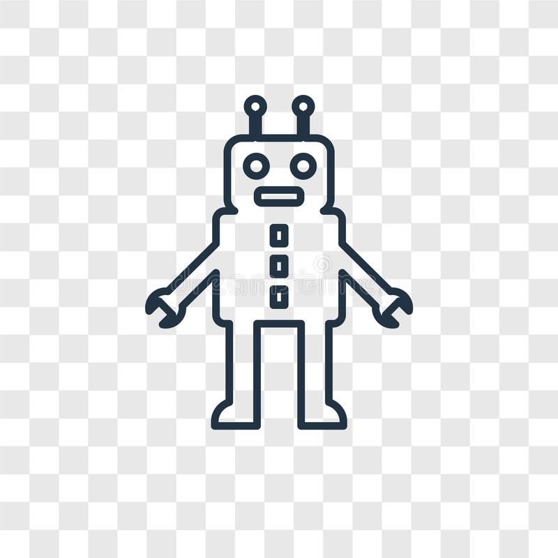 Robot toy concept vector linear icon isolated on transparent background, Robot toy concept transparency logo in outline style vector illustration