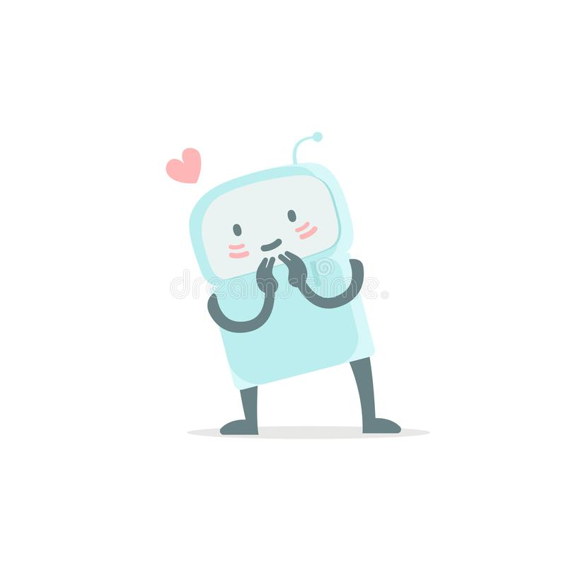 Robot toy love you and shy. Cute small new emoji sticker Icon. Very cute for child kid picture with heart. You are. Beautiful. You are beautiful. Flat color royalty free illustration