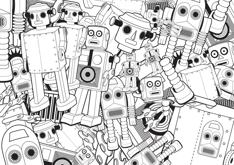 Download Robot Toys Background stock vector. Illustration of horizontal - 8879870