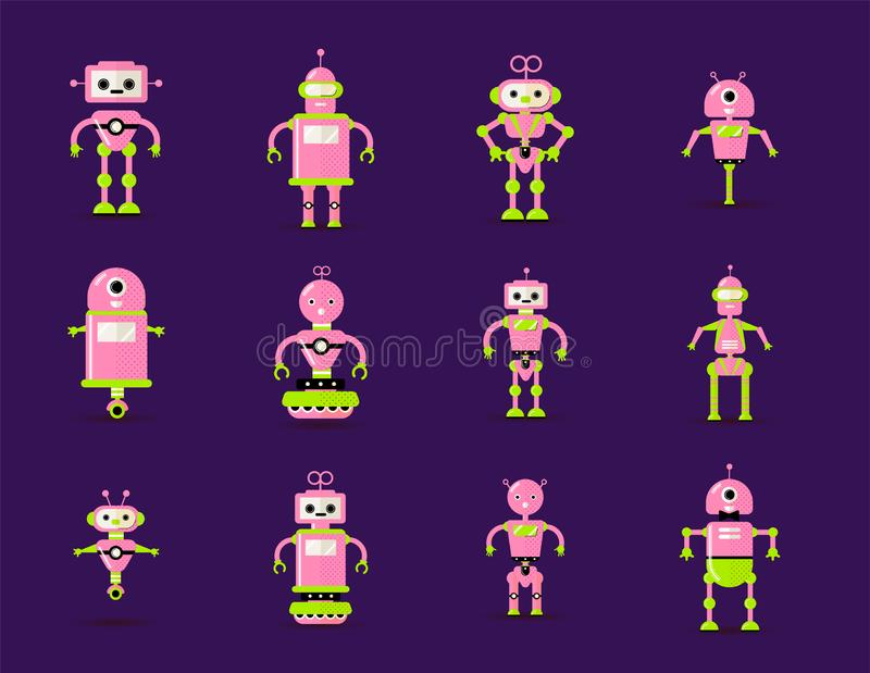 Robot toys collection in pink, green colors. Fun vector robots toy set icon in flat style isolated on violet background vector illustration