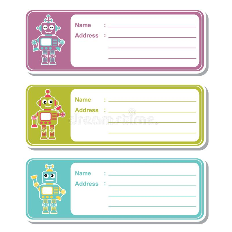 robot toys on colorful background suitable for kid address label
