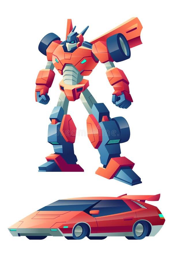 Robot transformant dans le vecteur de bande dessinée de voiture de sport illustration de vecteur