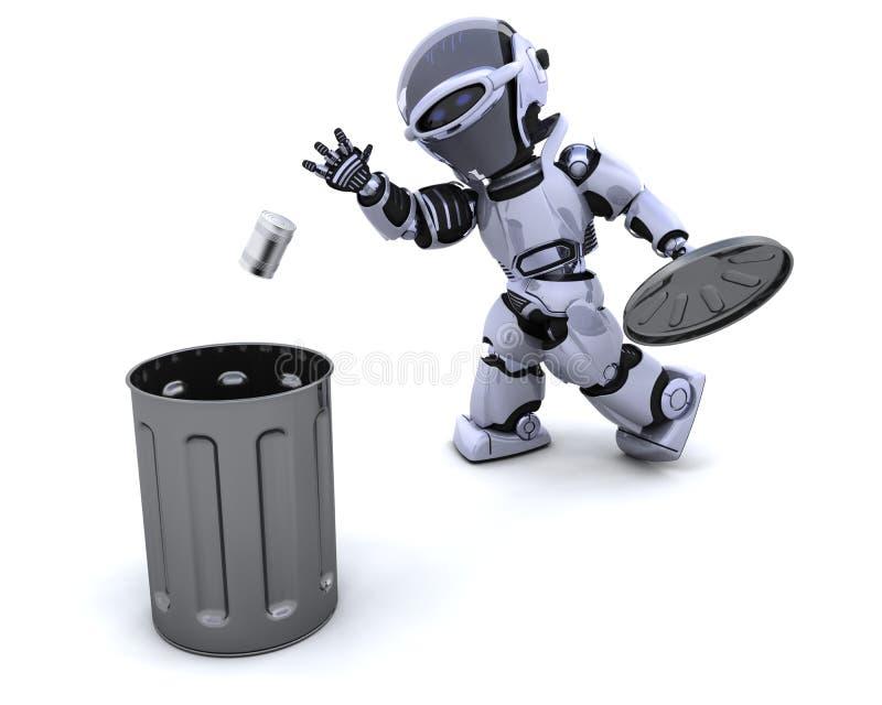 Robot with trash stock illustration