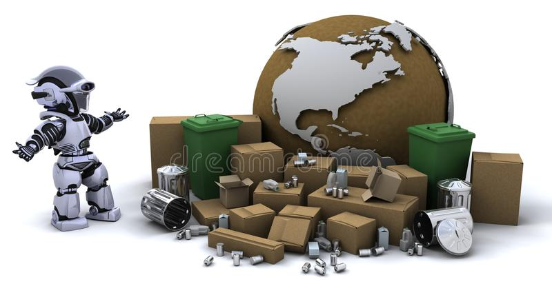 Download Robot with trash can stock illustration. Illustration of fiction - 13618495