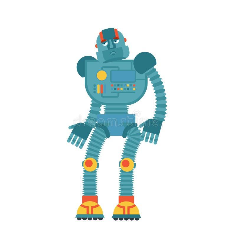 robot triste Émotions douleureuses de cyborg Homme robotique mat Vecteur i illustration stock