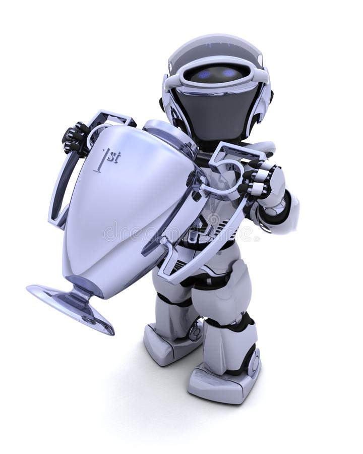 Robot with a trophy vector illustration