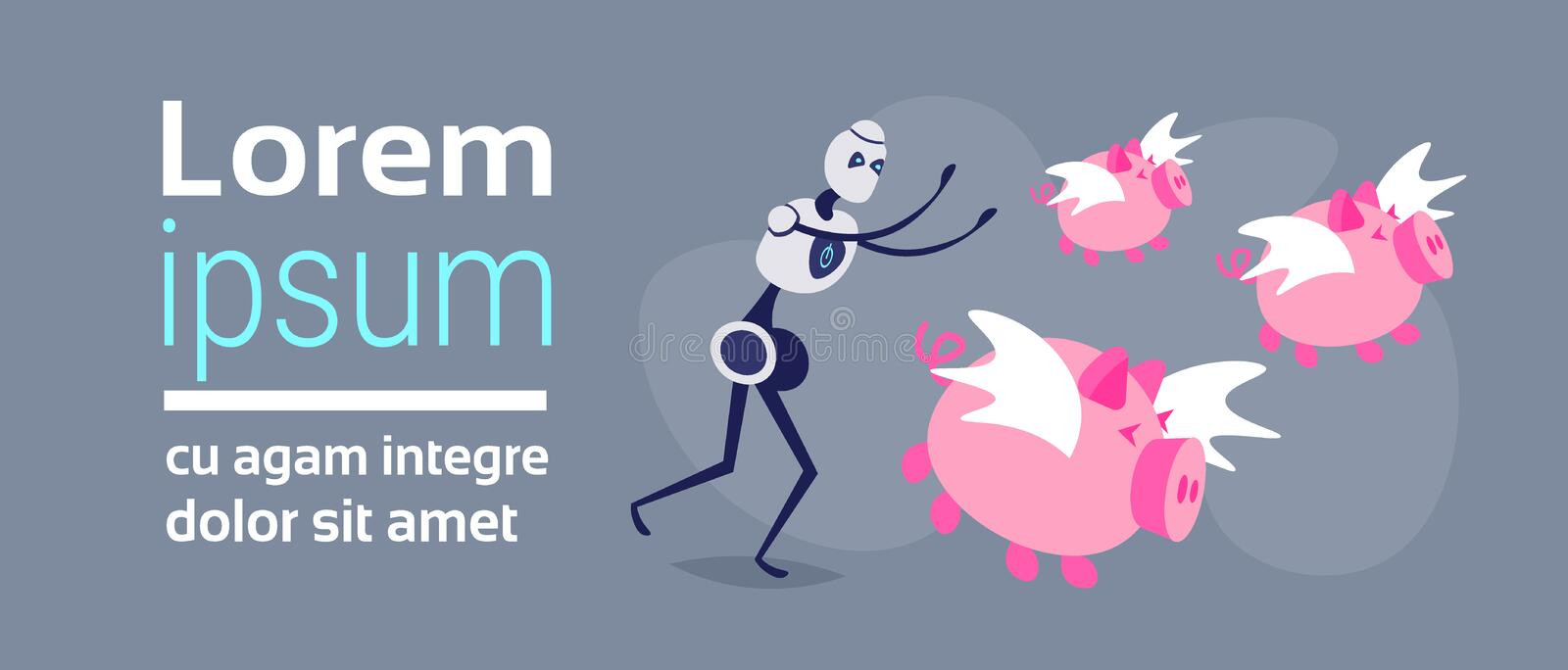 Robot trying catch flying piggybank pigs growth wealth artificial intelligence concept money piggy bank horizontal flat. Copy space vector illustration royalty free illustration