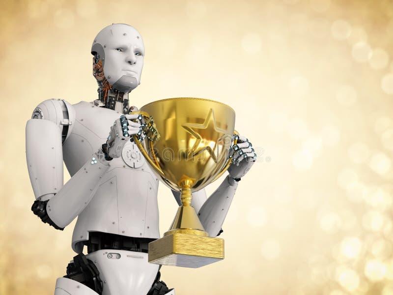 Robot trzyma złotego trofeum ilustracja wektor