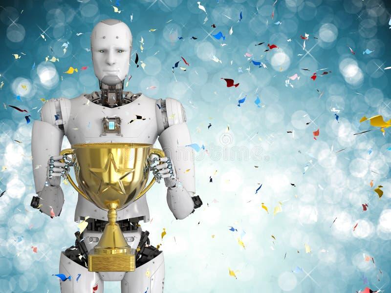 Robot trzyma złotego trofeum ilustracji