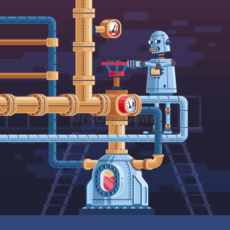 The robot turns the valve on the pipeline. Steampunk vector illustration stock illustration