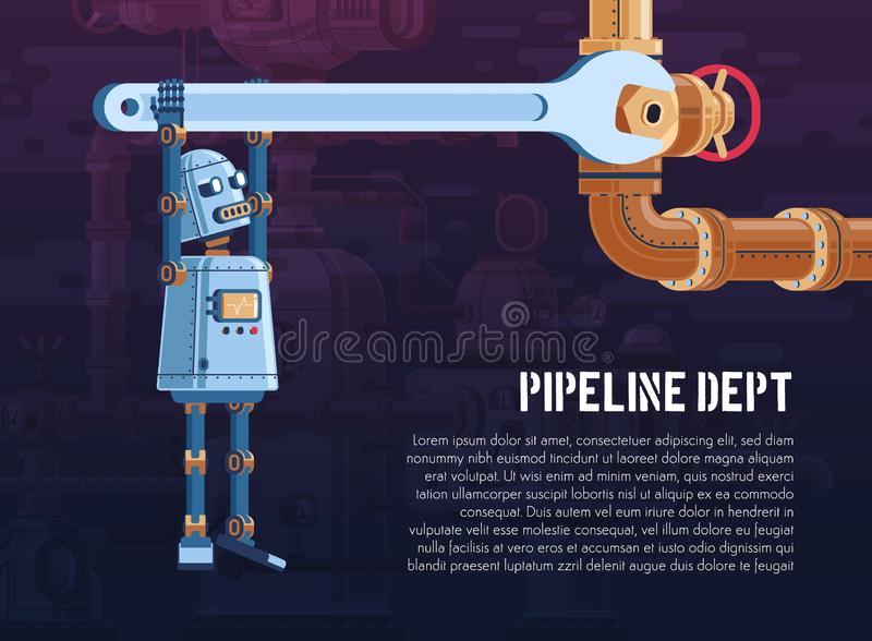 Robot turns the valve on the pipeline with a wrench. The robot turns the valve on the pipeline with a wrench. Cartoon vector illustration - poster template stock illustration