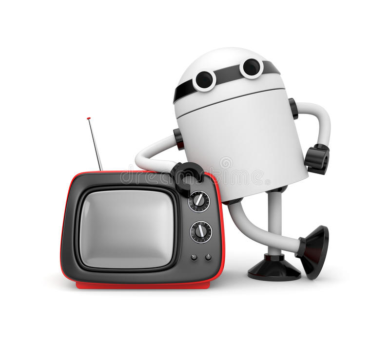 Download Robot with TV stock illustration. Illustration of robot - 25337986