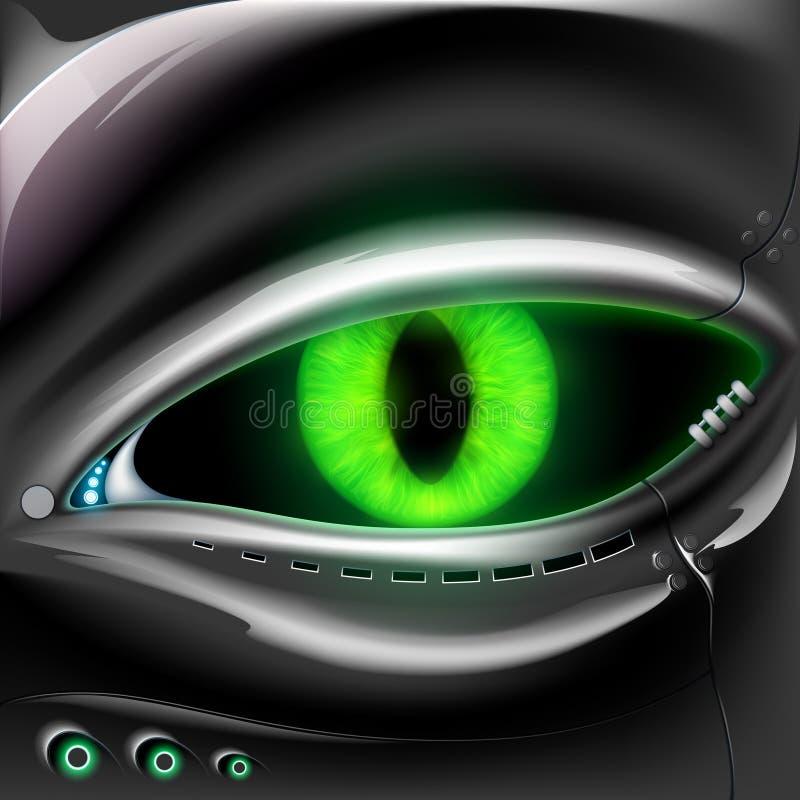 Robot twarz z kotów zielonymi oczami ilustracja wektor