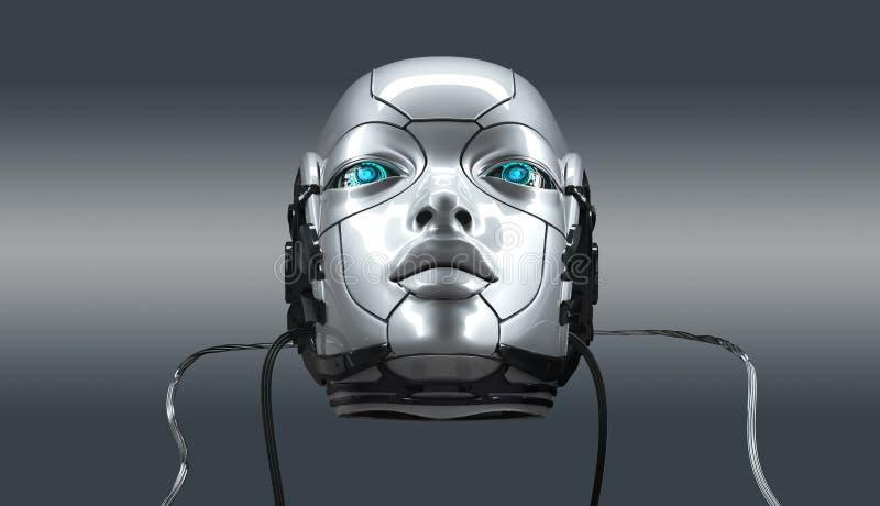 Robot twarzy zbliżenia żeński portret, 3d odpłaca się zdjęcia royalty free