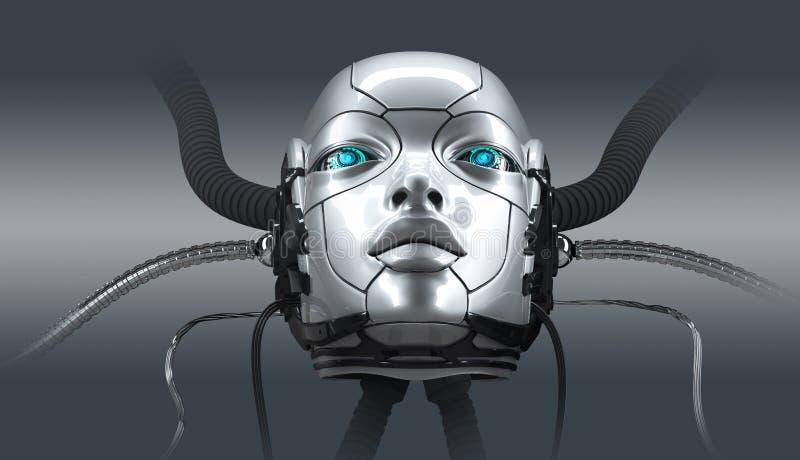 Robot twarzy zbliżenia żeński portret, 3d odpłaca się obrazy royalty free