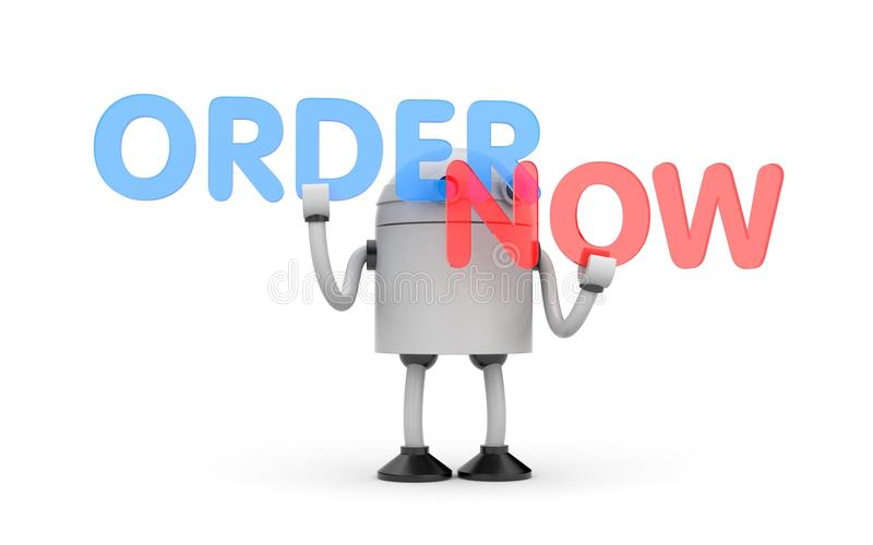 Robot with two words red and blue - order now vector illustration