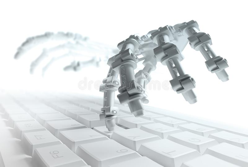 Robot typing on a computer keyboard stock illustration