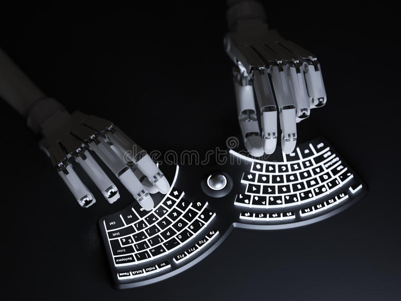 Robot typing on conceptual self-illuminated keyboard. Robot typing on conceptual futuristic self-illuminated keyboard stock photos