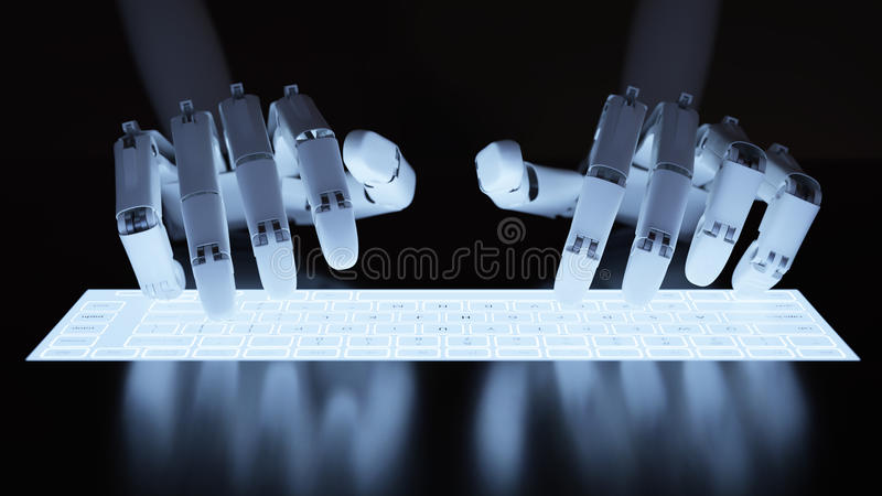 Robot typing on fluorescent keyboard. Robot typing on conceptual self-illuminated keyboard