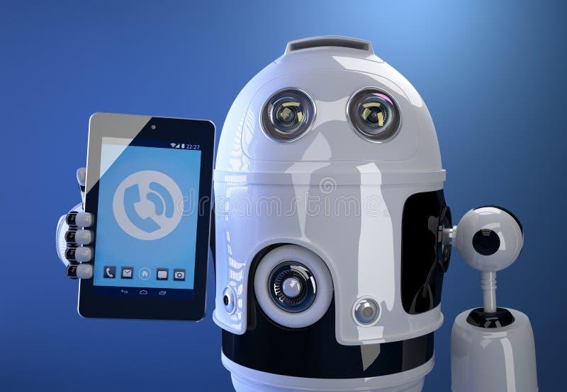 Robot używać jego pastylka komputer pojęcia odosobniony technologii biel Zawiera cl ilustracji