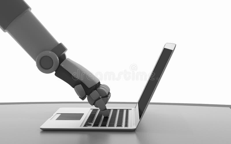Robot używać komputer odizolowywającego na bielu Ręka sztuczny ilustracji