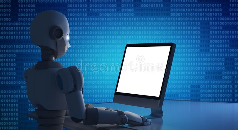 Robot używać komputer z pustym ekranem, wyśmiewa up sztucznie ilustracji