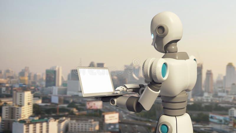 Robot używać laptop z pustym ekranem w mieście royalty ilustracja