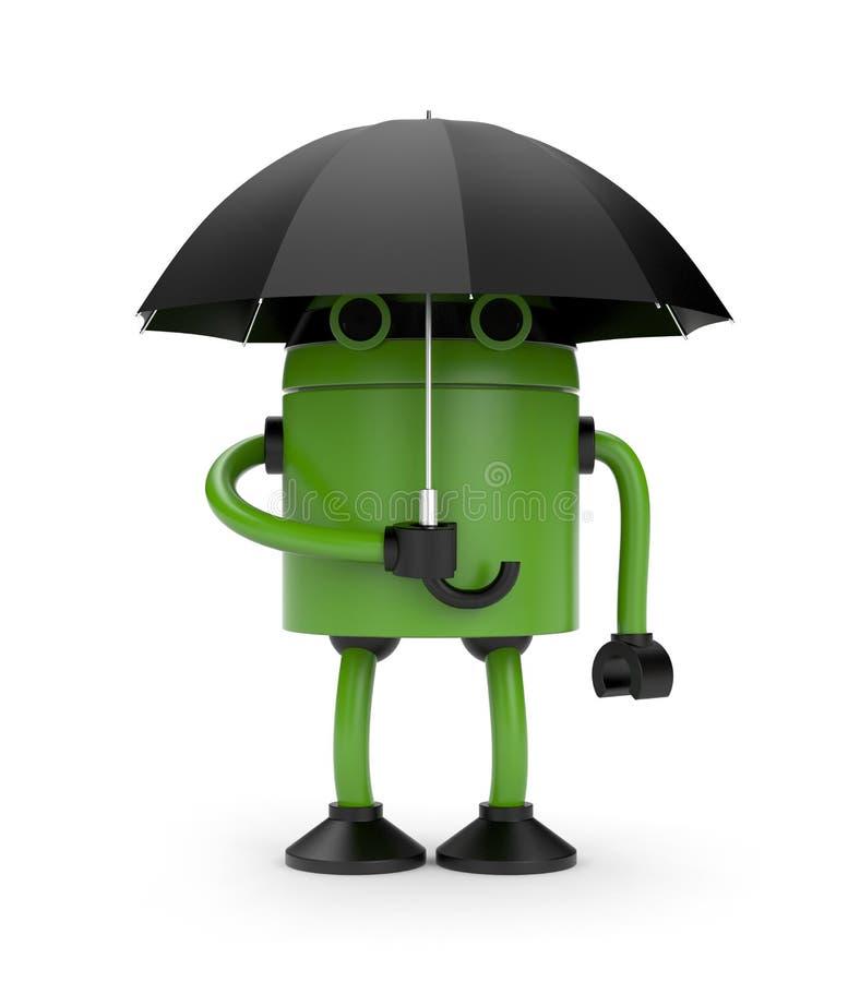 Robot and umbrella vector illustration