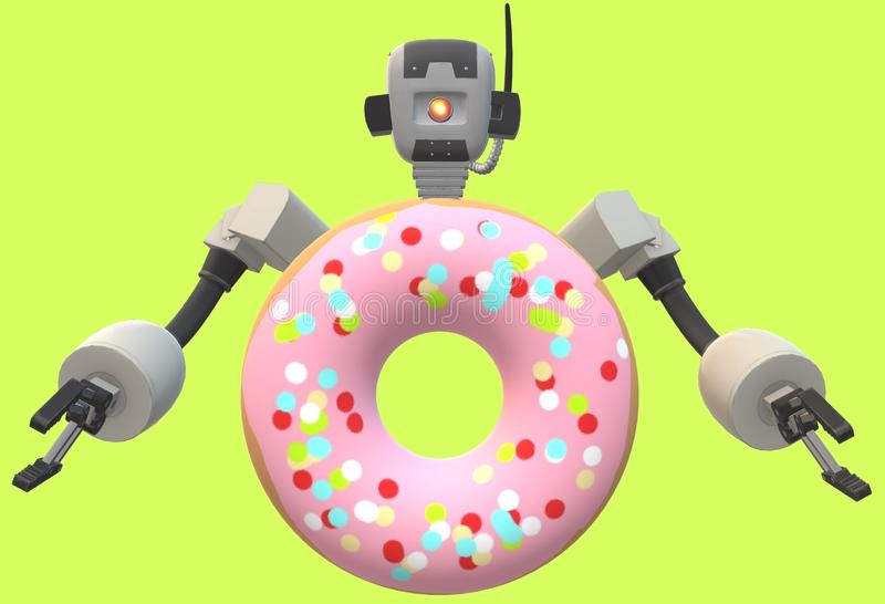 A robot upper torso but has the body of a strawberry doughnut against a luminous green backdrop. A computer generated three dimensional robot upper torso but has stock illustration