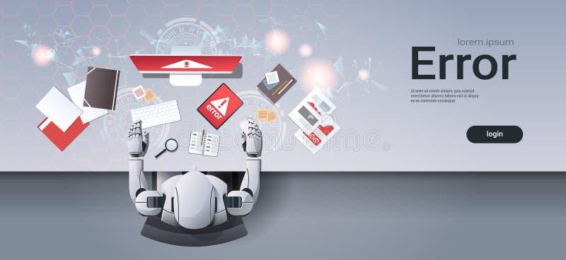 Robot usando el humanoid digital del error de software de aplicación del ordenador del problema de los dispositivos que se sienta libre illustration