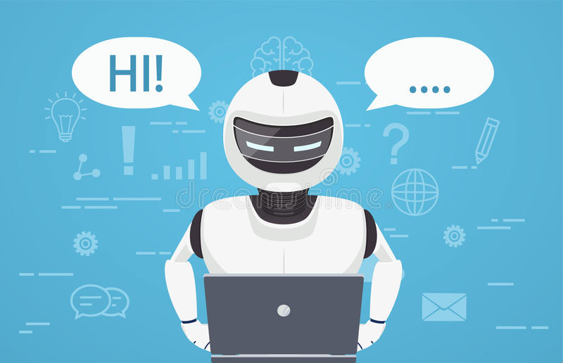 Robot uses laptop computer. Concept of chat bot, a virtual online assistant. vector illustration
