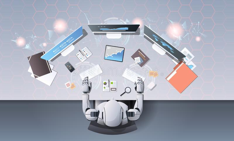 Robot using computer monitors typing keyboard at workplace desk office stuff working process top angle view artificial stock illustration