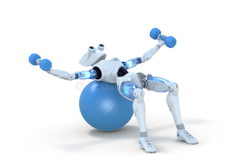 Robot Using Dumbbells on Exercise Ball royalty free stock images