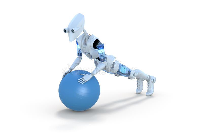 Robot Using Exercise Ball stock photography