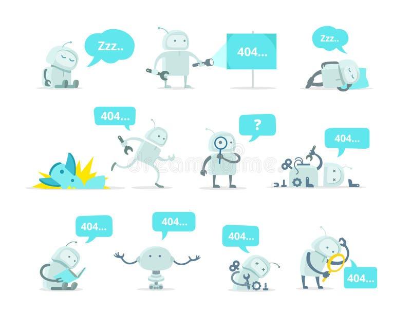Robot Ustawia 404 błąd strony wektorowego trzaska kosmonauta bieg znajdującej wypadkowej śmiesznej naprawy ilustracja wektor