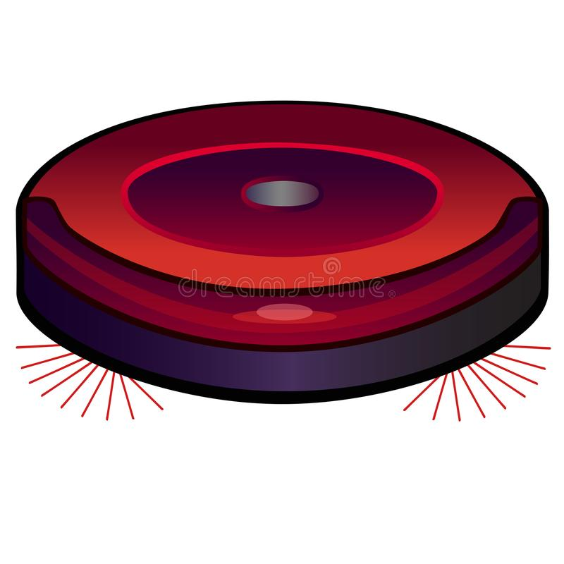 Robot vacuum cleaner. Hoover. Vacuum Linear picture with color gradient. Close-up. Robot vacuum cleaner. Hoover. Vacuum Linear picture with color gradient. Red vector illustration