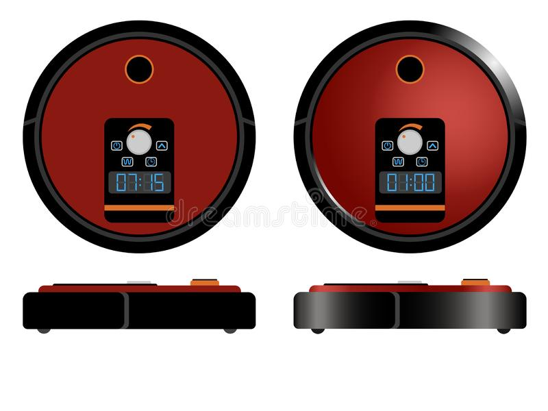 Robot vacuum cleaner - modern automatic equipment for home cleaning stock illustration
