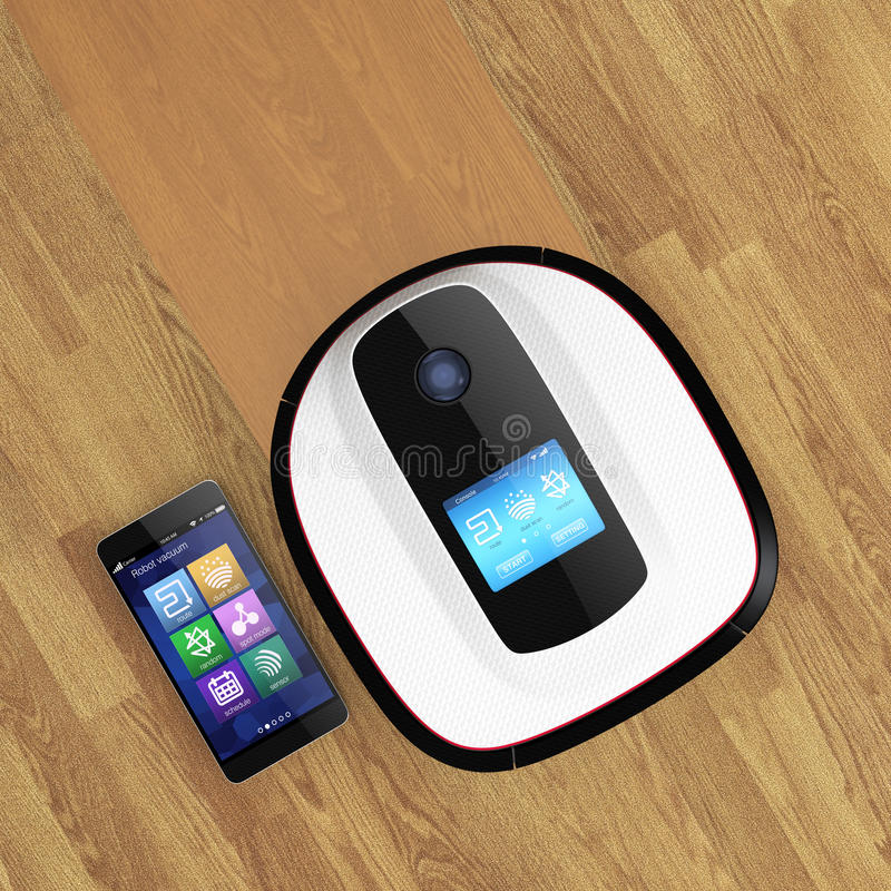 Robot vacuum cleaner and smart phone. royalty free illustration