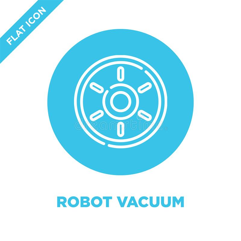 robot vacuum icon vector from smart home collection. Thin line robot vacuum outline icon vector  illustration. Linear symbol for vector illustration