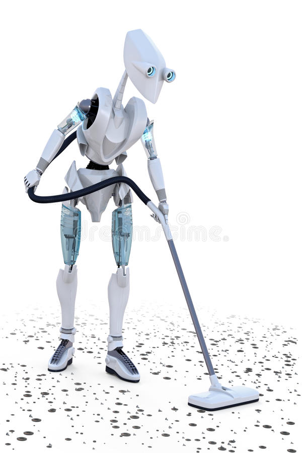 Robot Vacuuming vector illustration
