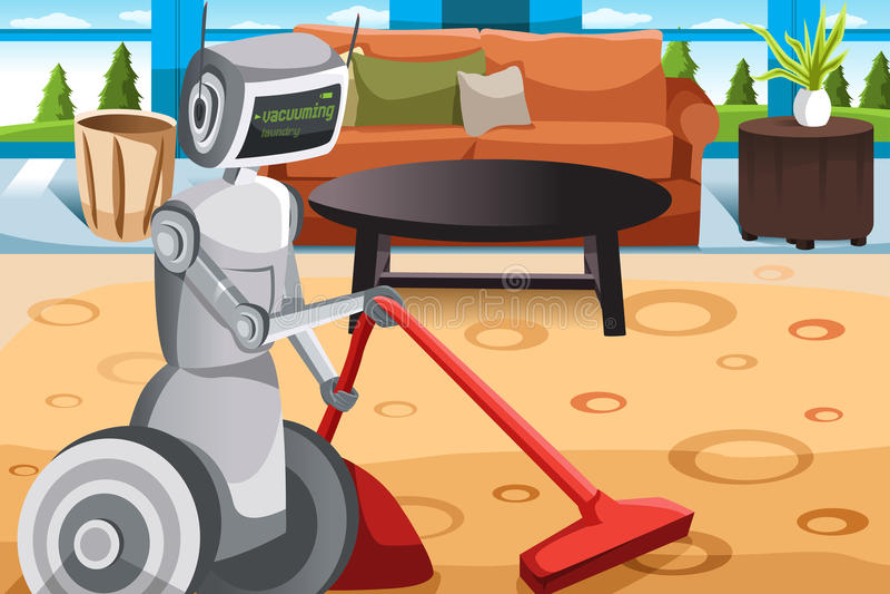 Robot vacuuming carpet stock illustration