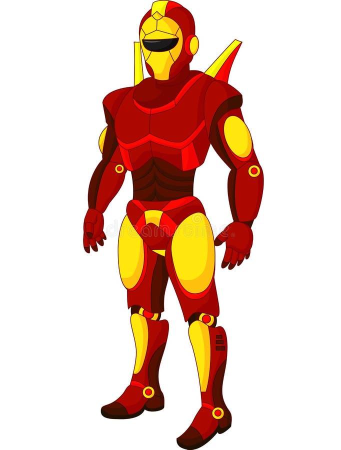Robot van beeldverhaal de rode humanoid vector illustratie