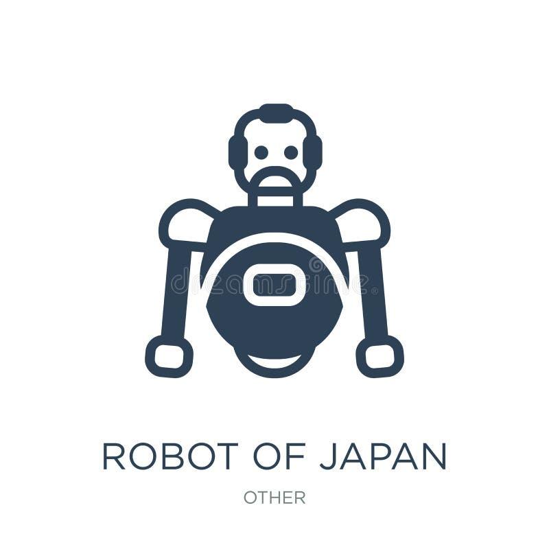 robot van het pictogram van Japan in in ontwerpstijl robot van het pictogram van Japan op witte achtergrond wordt geïsoleerd die  stock illustratie