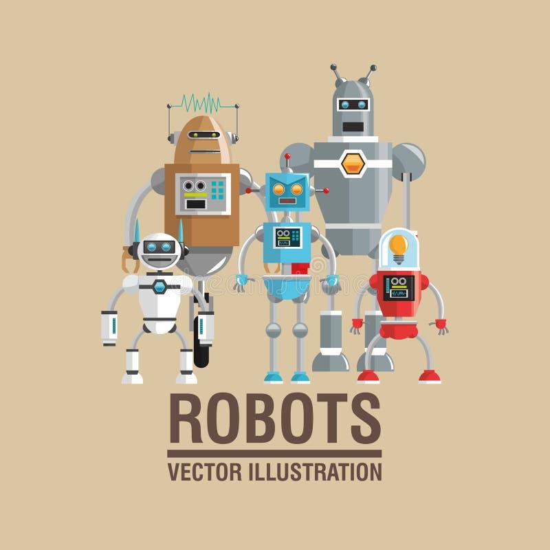 Robot vastgesteld ontwerp Het concept van de technologie humanoidpictogram vector illustratie
